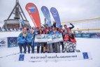 A. Vasiljevas ir M. Malinauskas Europos sniego tinklinio turo etape Italijoje