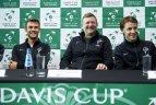 Lietuvos teniso rinktinė prieš rungtynes su Lenkijos komanda