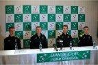 Lietuvos rinktinės spaudos konferencija ir treniruotė prieš Daviso taurės mačą su Madagaskaru.