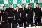 Lietuvos ir Estijos rinktinių spaudos konferencija prieš Daviso taurės susitikimą