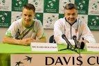 R.Berankio ir R.Balžeko spaudos konferencija po pergalės Daviso taurės turnyro dvikovoje prieš estą J.Poldmą.