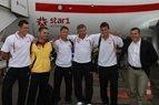 Lietuvos teniso rinktinės spaudos konferencija Vilniaus oro uoste prieš išvyką į Dubliną